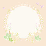 Draw illustration circle background and plant border Stock Photography