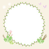 Draw illustration circle plant border with butterfly and floral Royalty Free Stock Image