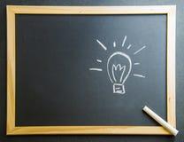 Draw Lamp Idea on Blackboard2 Stock Photo
