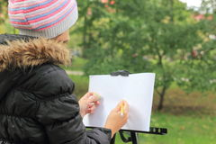 Draw a landscape in the park Stock Images