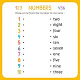 Draw a line from the number to its name. Numbers for kids. Worksheet for kindergarten and preschool. Training to write and count n. Umbers. Exercises for stock illustration