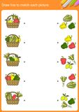 Draw line to match each picture. Matching vegetable - Worksheet for education royalty free illustration
