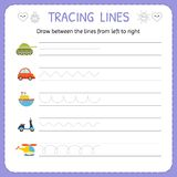 Draw between the lines from left to right. Preschool, kindergarten worksheet for practicing motor skills. Basic writing Royalty Free Stock Images