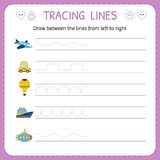 Draw between the lines from left to right. Preschool, kindergarten worksheet for practicing motor skills. Trace line worksheet for stock illustration