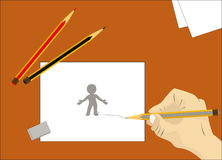 We draw the little man Stock Photos