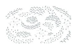 Draw map with mountains, forest and small town. Fantasy fairy tale created ancient area. Hand drawn black line. Vector travel illustration background clipart stock illustration