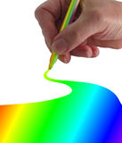Draw Me a Rainbow. Hand drawing a line with a rainbow marker pen. (with a nod to Andresr royalty free illustration