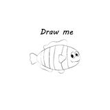 Draw me - vector illustration of sea animals. The clownfish coloring game for children. Stock Photography
