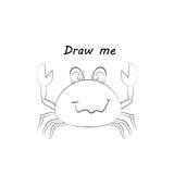 Draw me - vector illustration of sea animals. The crab coloring game for children. Stock Photography