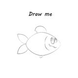 Draw me - vector illustration of sea animals. A fish coloring game for children. Stock Images