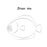 Draw me - vector illustration of sea animals. The flounder coloring game for children. Royalty Free Stock Photos