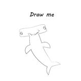 Draw me - vector illustration of sea animals. The hammerhead shark coloring game for children. Royalty Free Stock Image