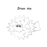 Draw me - vector illustration of sea animals. The hedgehog fish coloring game for children. Stock Photos