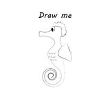 Draw me - vector illustration of sea animals. The seahorse coloring game for children. Royalty Free Stock Photo