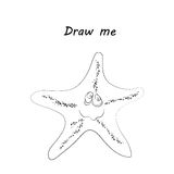 Draw me - vector illustration of sea animals. The seastar coloring game for children. Royalty Free Stock Photography