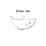 Draw me - vector illustration of sea animals. The shark coloring game for children. Stock Photography