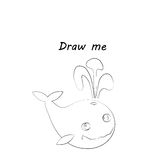 Draw me - vector illustration of sea animals. The whale coloring game for children. Stock Photography
