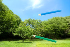 Draw a nature. Sight of colored pencils to draw a nature Stock Images