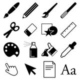 Draw and paint icons Royalty Free Stock Image