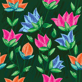Draw Painting Flowers Seamless Pattern_eps Royalty Free Stock Photography