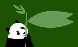 Draw panda speech bubble on green background. Panda speech bubble on green background Royalty Free Stock Image