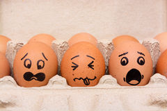 Draw Panic face eggs Stock Photography