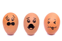 Draw panic face eggs Royalty Free Stock Image