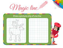 Draw a picture only of one line deer Stock Images
