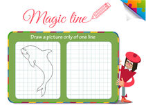 Draw a picture only of one line fish, shark, dilfin, orca. Visual Game for children. Coloring book education. Task: Draw a picture only of one line fish, shark Stock Images