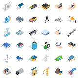 Draw plan icons set, isometric style Stock Images