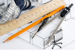 Draw a plan of office. Pencil, ruler and compasses to the terms of office Stock Photo