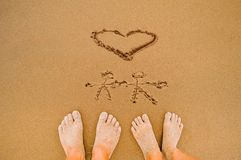 Draw romantic Love heart beach Royalty Free Stock Images