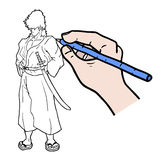 Draw samurai Stock Photography