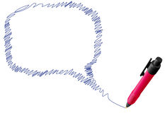 Draw scribble talk speech bubble with ink pen Stock Photo