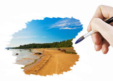 Draw seascape Royalty Free Stock Photos