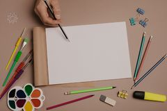 Draw in sketchbook. Creative artist workspace top view. Background of painting, art stationery royalty free stock image