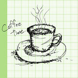 Draw sketches of coffee on graph paper vector Royalty Free Stock Image