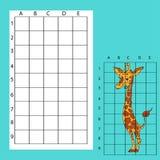 Draw on the squares. A cute cartoon giraffe Stock Photos