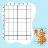 Draw on the squares. A cute cartoon squirrel Royalty Free Stock Image