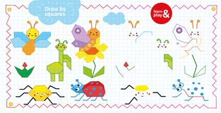 Draw by squares game for children. Insects and flowers. Looking at sample draw on squares all insects using desired royalty free illustration