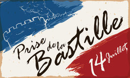 Draw of Storming of the Bastille and French Colors Brushstrokes, Vector Illustration. French colors brushstrokes with reminder date and draw of the Storming of Royalty Free Stock Images
