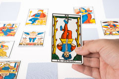 Draw tarot : The Hanged Man Stock Photo