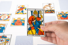 Draw tarot : The Pope Stock Photo