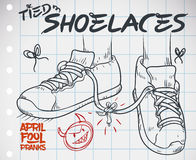 Draw with Tied Shoelaces Prank for April Fools` Day, Vector Illustration. Doodle in a notebook paper with funny prank for April Fools` Day: tied shoelaces prank Royalty Free Stock Image