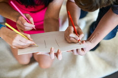 Draw together concept working. Kids stock photos