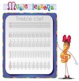 Draw a treble clef. Stock Photos