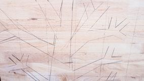 Draw tree picture on wood background Royalty Free Stock Photos