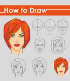Draw tutorial. Step by step. Female face Stock Images
