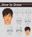 Draw tutorial. Step by step. Royalty Free Stock Photography