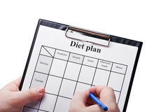 Draw up a diet plan isolated Stock Photo